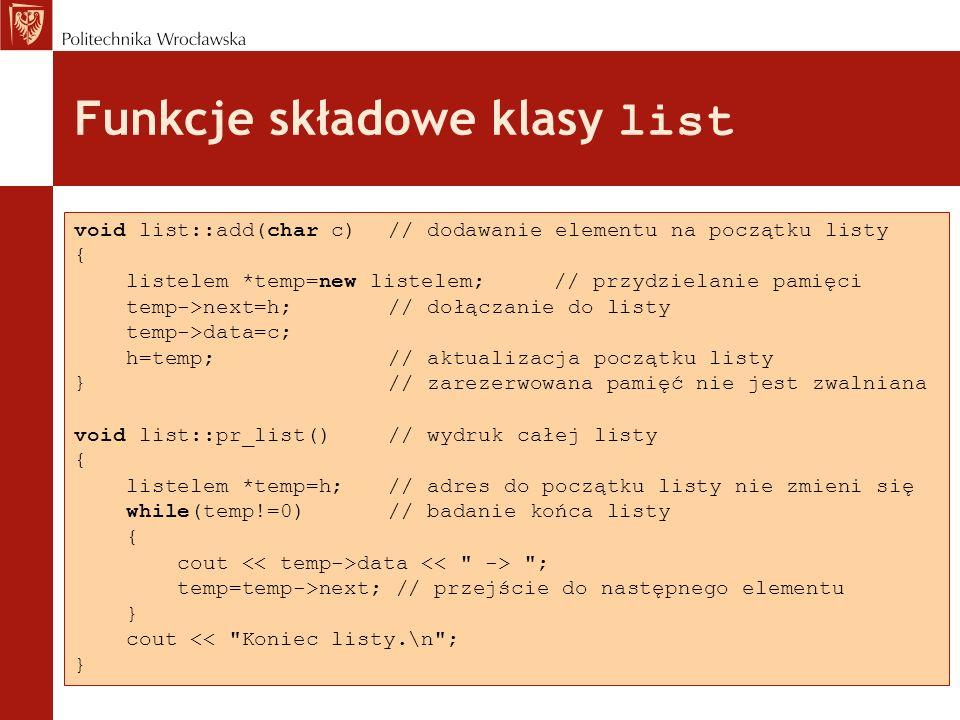 Funkcje składowe klasy list