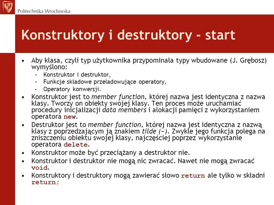 Konstruktory i destruktory - start