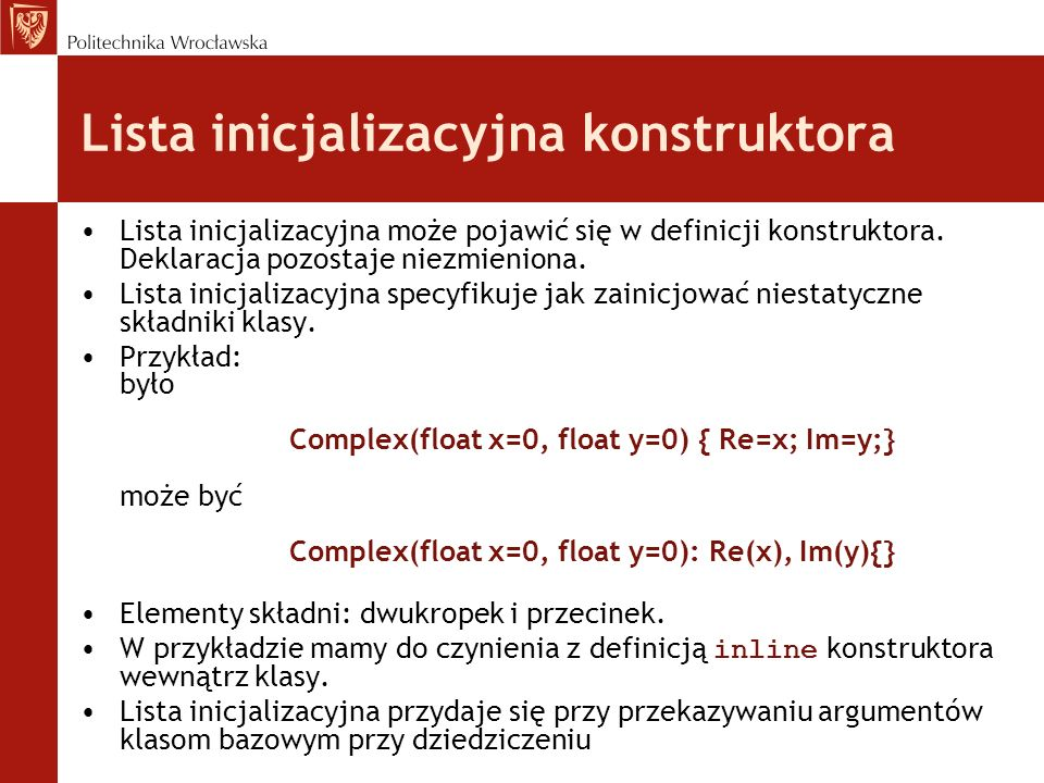 Lista inicjalizacyjna konstruktora
