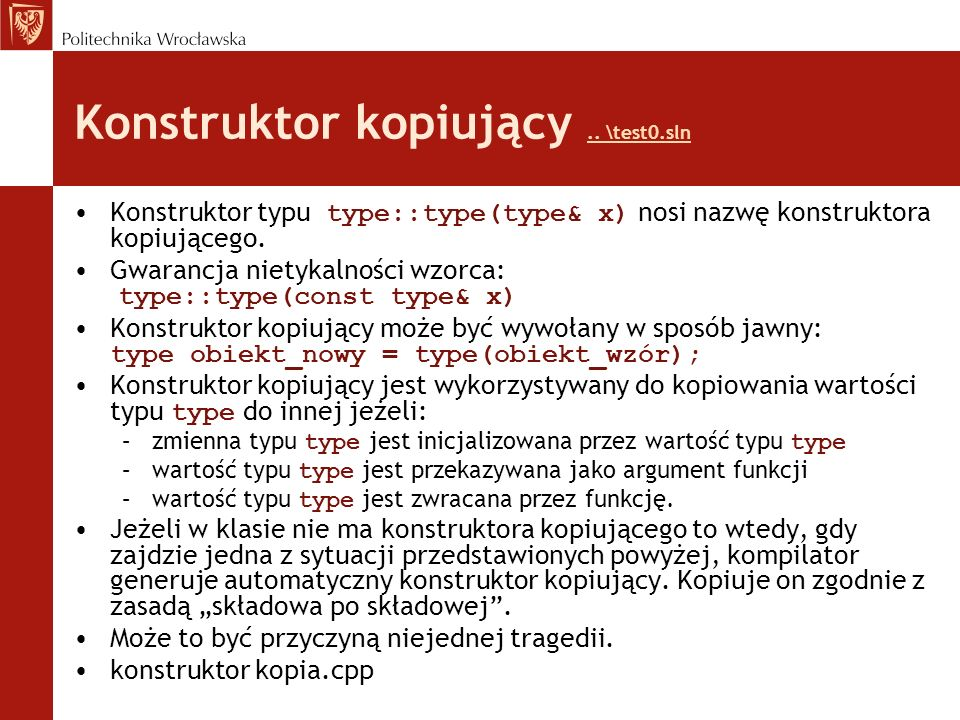 Konstruktor kopiujący .. \test0.sln