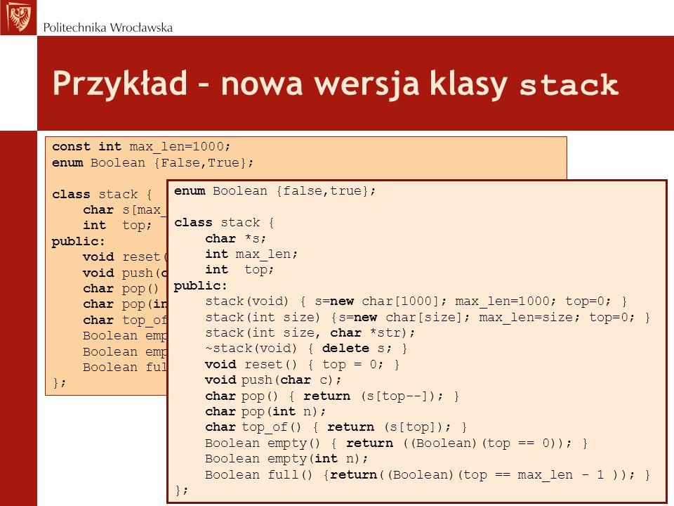Przykład – nowa wersja klasy stack