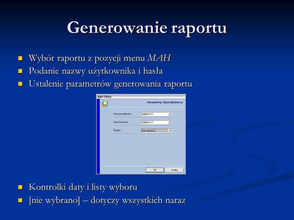 Generowanie raportu Wybór raportu z pozycji menu MAH