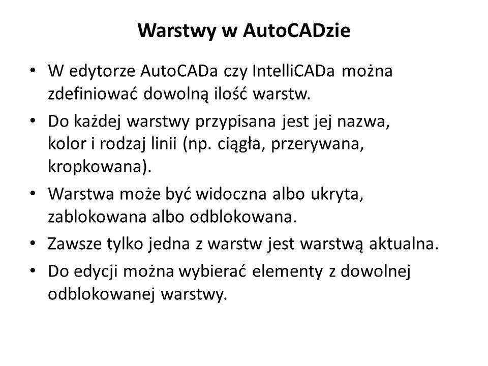 Warstwy w AutoCADzie W edytorze AutoCADa czy IntelliCADa można zdefiniować dowolną ilość warstw.