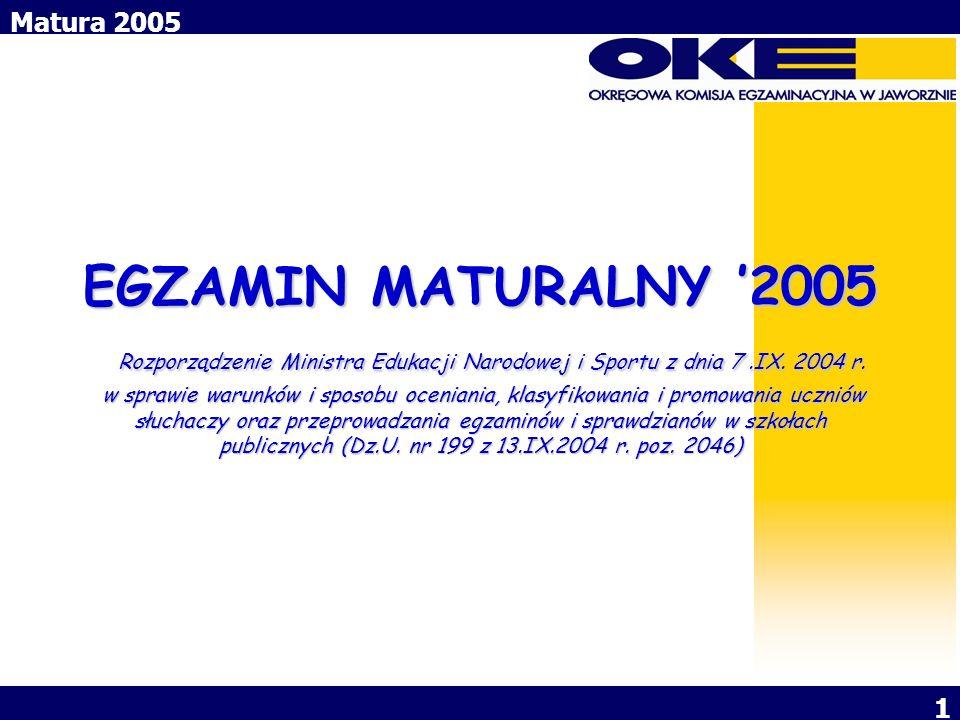 EGZAMIN MATURALNY '2005 Rozporządzenie Ministra Edukacji Narodowej i Sportu z dnia 7 .IX.