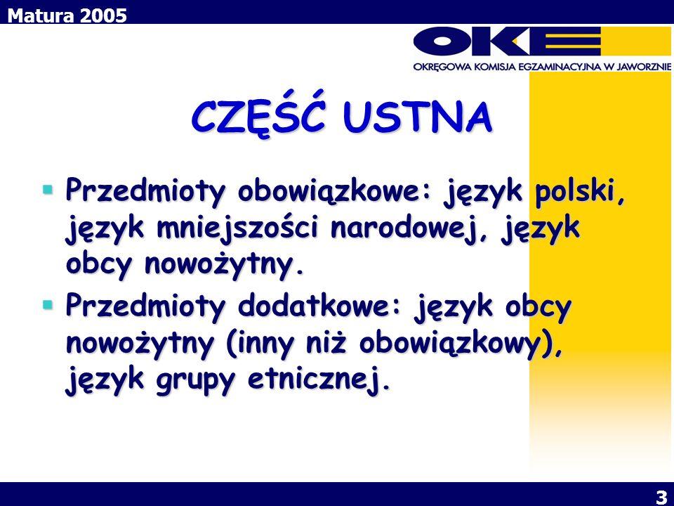 CZĘŚĆ USTNA Przedmioty obowiązkowe: język polski, język mniejszości narodowej, język obcy nowożytny.