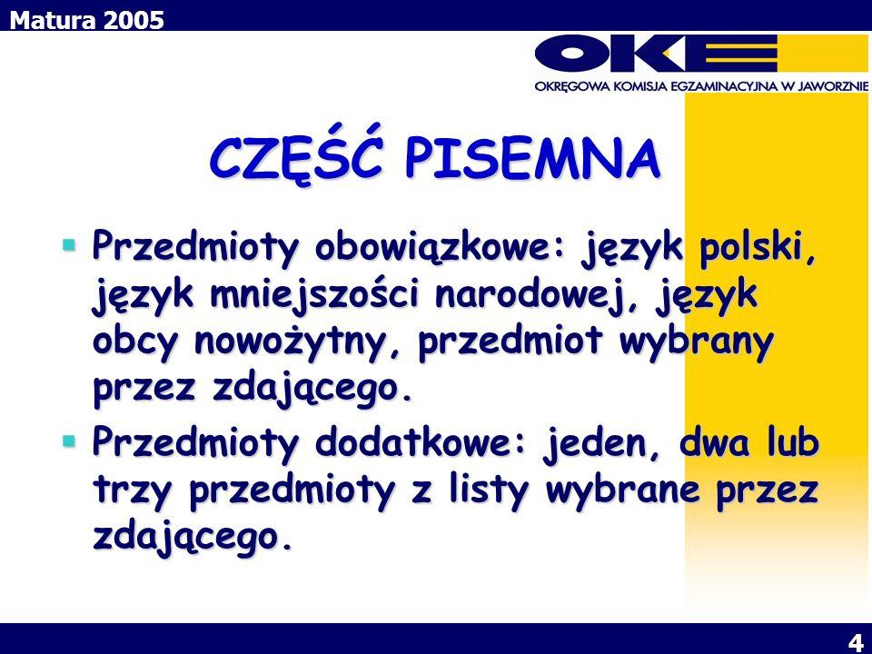 CZĘŚĆ PISEMNA Przedmioty obowiązkowe: język polski, język mniejszości narodowej, język obcy nowożytny, przedmiot wybrany przez zdającego.