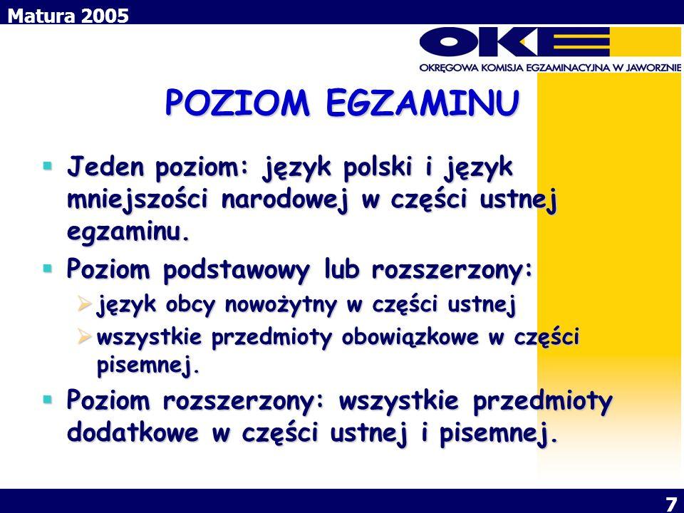 POZIOM EGZAMINU Jeden poziom: język polski i język mniejszości narodowej w części ustnej egzaminu. Poziom podstawowy lub rozszerzony: