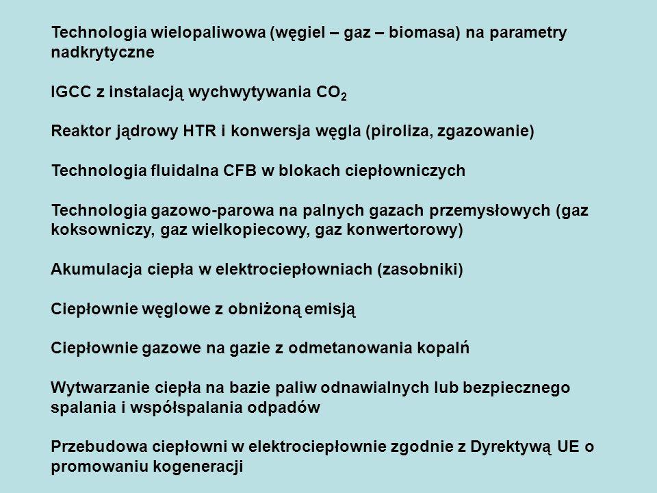 Technologia wielopaliwowa (węgiel – gaz – biomasa) na parametry nadkrytyczne
