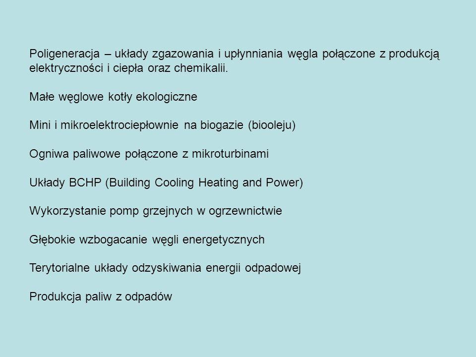 Poligeneracja – układy zgazowania i upłynniania węgla połączone z produkcją elektryczności i ciepła oraz chemikalii.