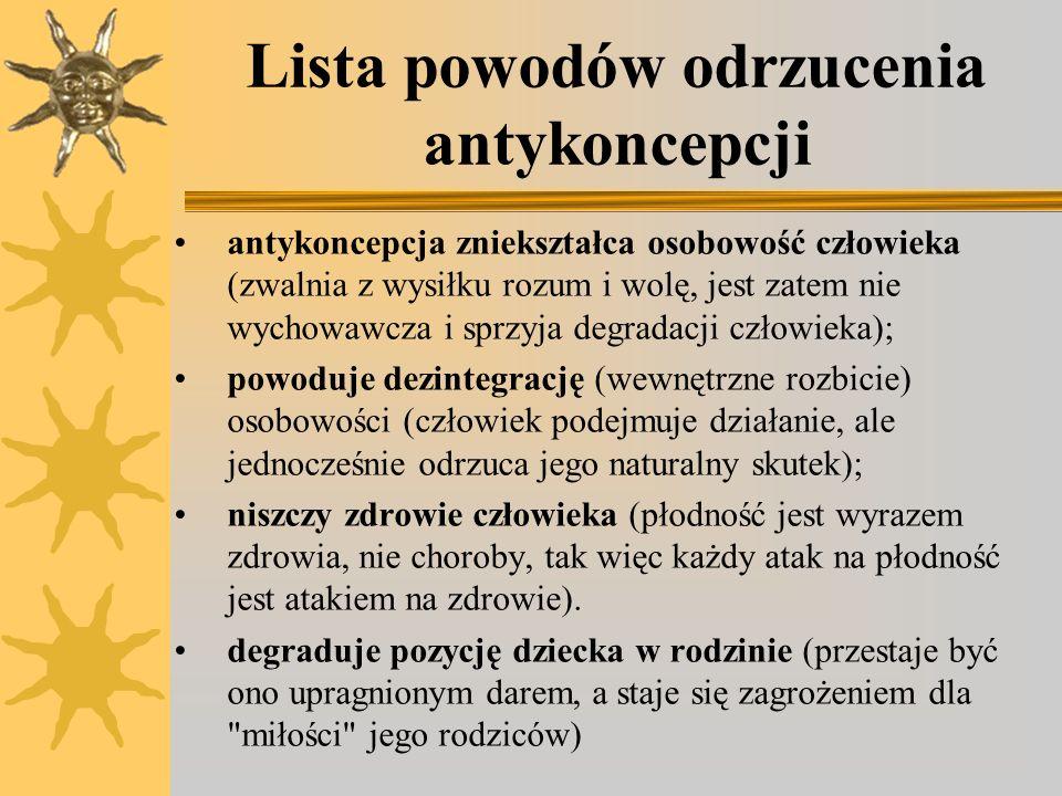 Lista powodów odrzucenia antykoncepcji