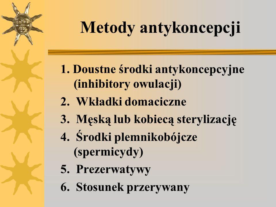 Metody antykoncepcji 1. Doustne środki antykoncepcyjne (inhibitory owulacji) 2. Wkładki domaciczne.
