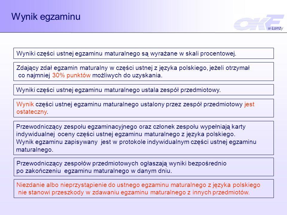 Wynik egzaminu w Łomży. Wyniki części ustnej egzaminu maturalnego są wyrażane w skali procentowej.