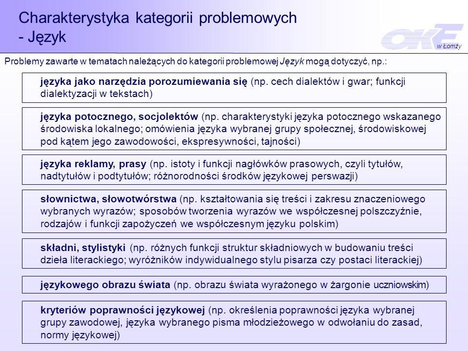 Charakterystyka kategorii problemowych - Język