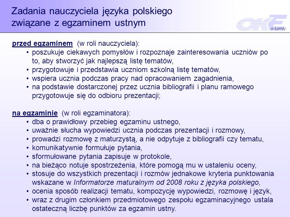Zadania nauczyciela języka polskiego związane z egzaminem ustnym