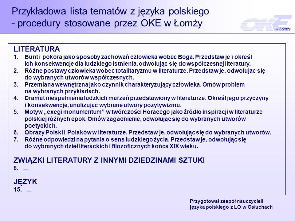 Przykładowa lista tematów z języka polskiego