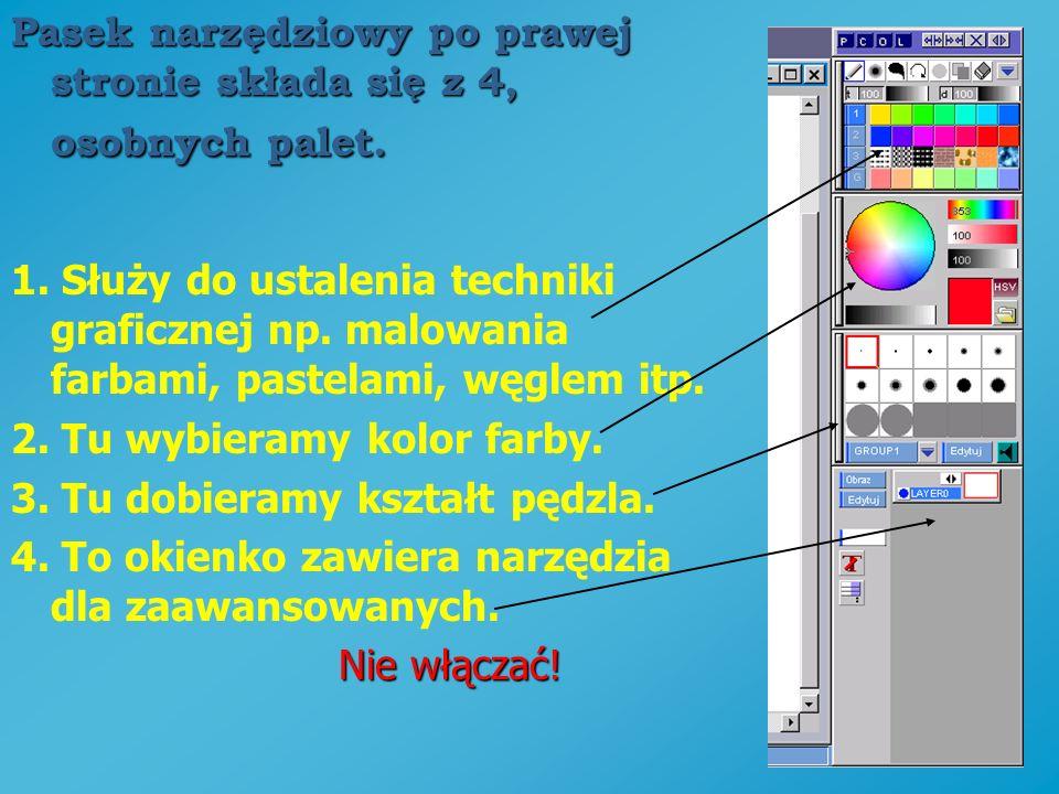 Pasek narzędziowy po prawej stronie składa się z 4, osobnych palet.
