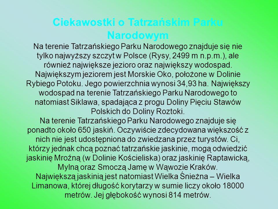 Ciekawostki o Tatrzańskim Parku Narodowym Na terenie Tatrzańskiego Parku Narodowego znajduje się nie tylko najwyższy szczyt w Polsce (Rysy, 2499 m n.p.m.), ale również największe jezioro oraz największy wodospad. Największym jeziorem jest Morskie Oko, położone w Dolinie Rybiego Potoku. Jego powierzchnia wynosi 34,93 ha. Największy wodospad na terenie Tatrzańskiego Parku Narodowego to natomiast Siklawa, spadająca z progu Doliny Pięciu Stawów Polskich do Doliny Roztoki.