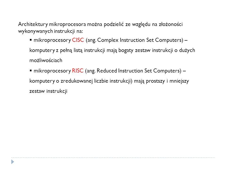 Architektury mikroprocesora można podzielić ze względu na złożoności wykonywanych instrukcji na: