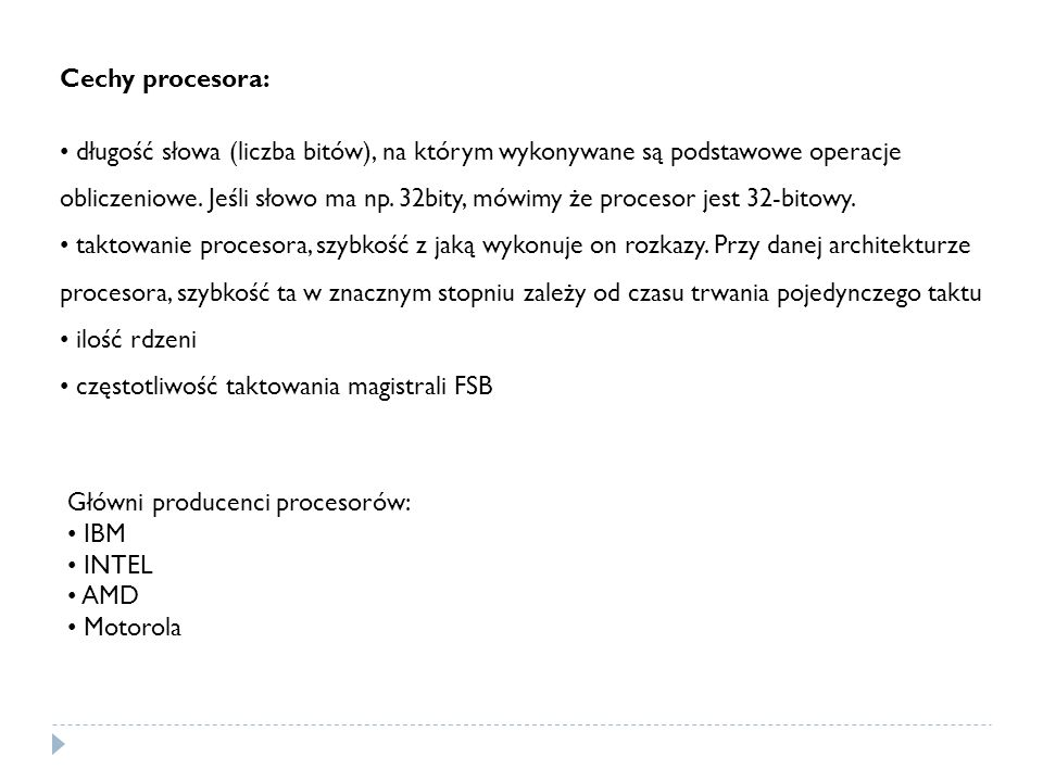 Cechy procesora: