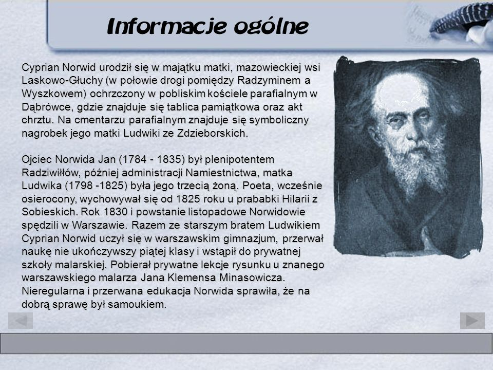 Informacje ogólne Cyprian Kamil Norwid patron III Liceum w Koninie
