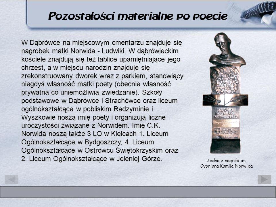 Jedna z nagród im. Cypriana Kamila Norwida