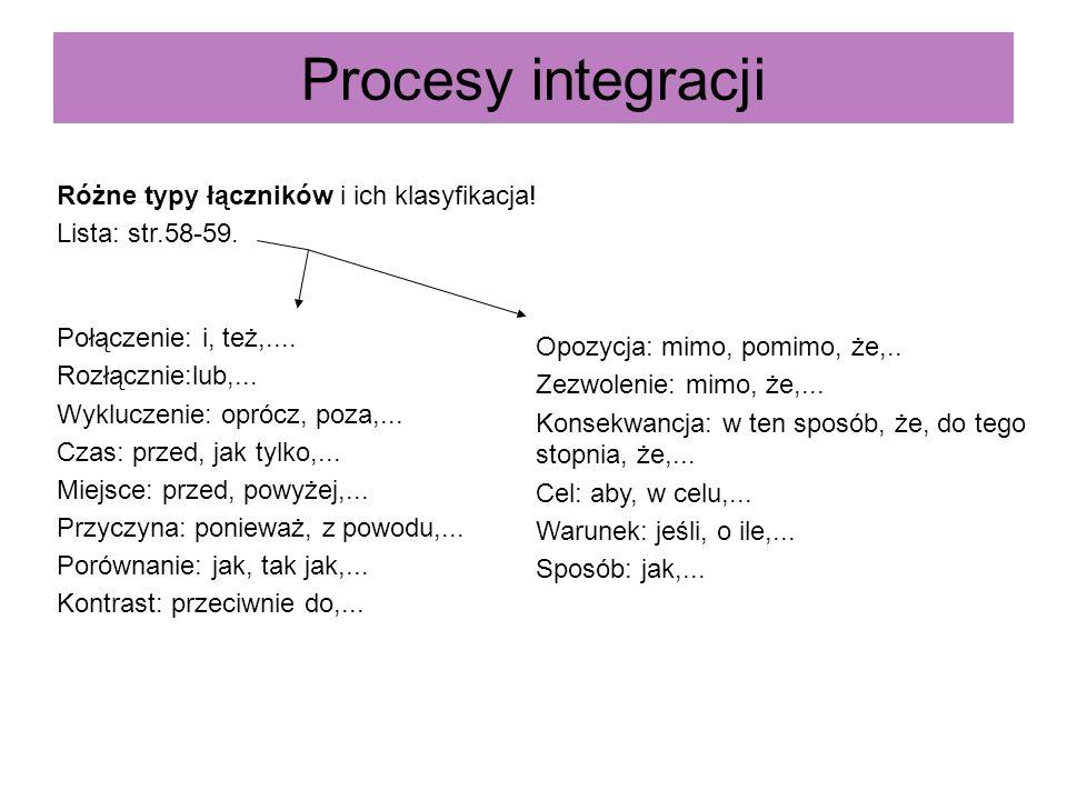 Procesy integracji Różne typy łączników i ich klasyfikacja!