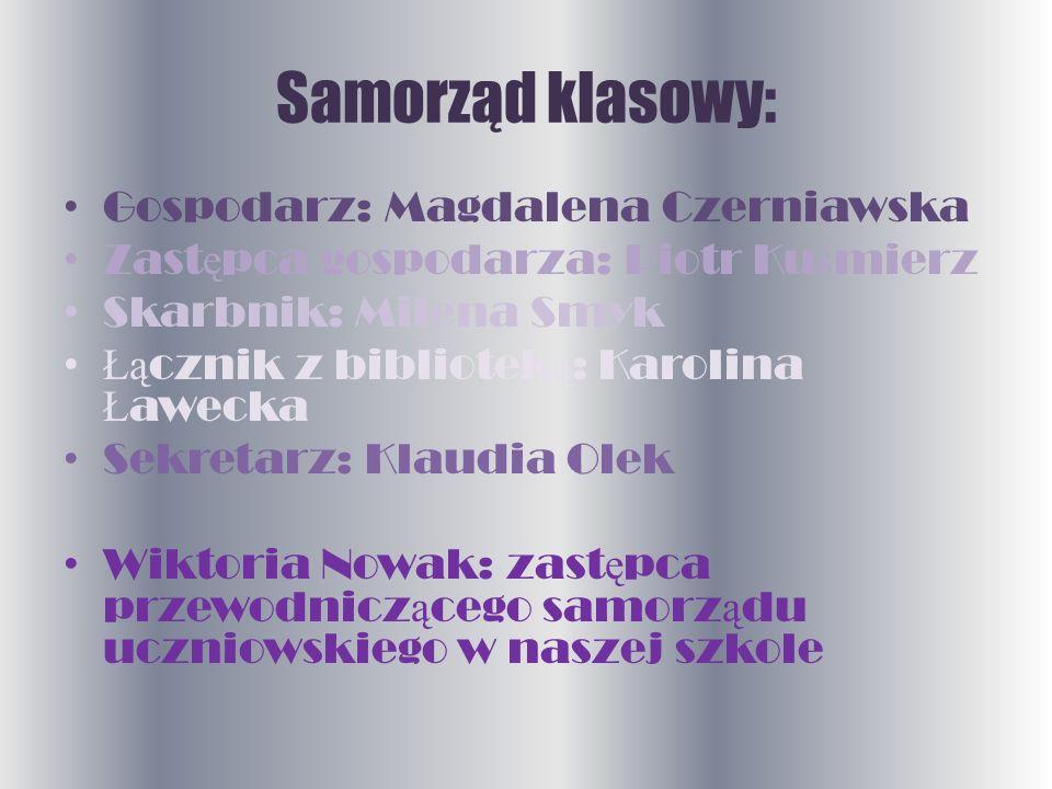 Samorząd klasowy: Gospodarz: Magdalena Czerniawska