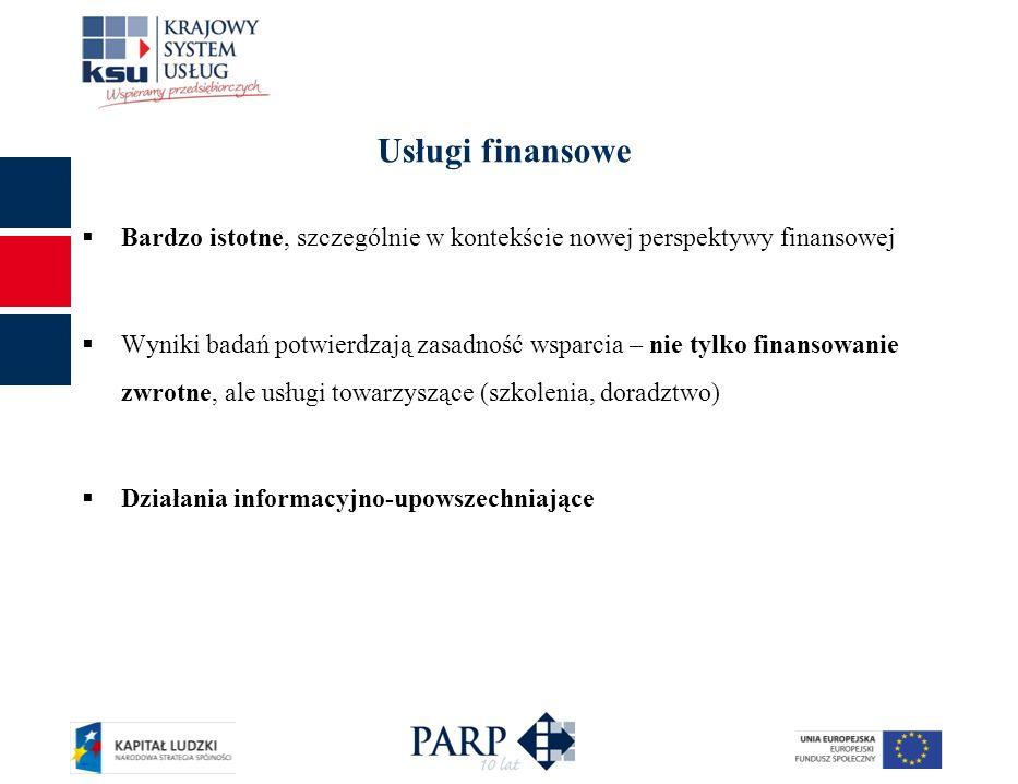 Usługi finansowe Bardzo istotne, szczególnie w kontekście nowej perspektywy finansowej.