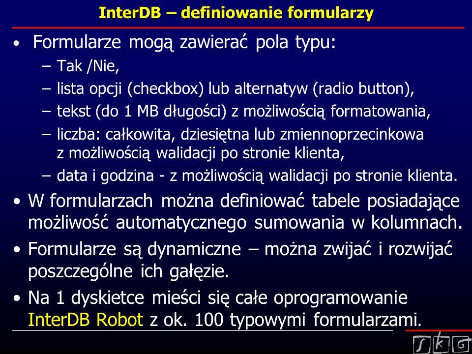 InterDB – definiowanie formularzy