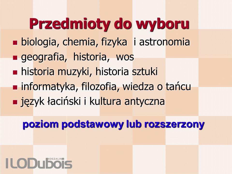 Przedmioty do wyboru biologia, chemia, fizyka i astronomia