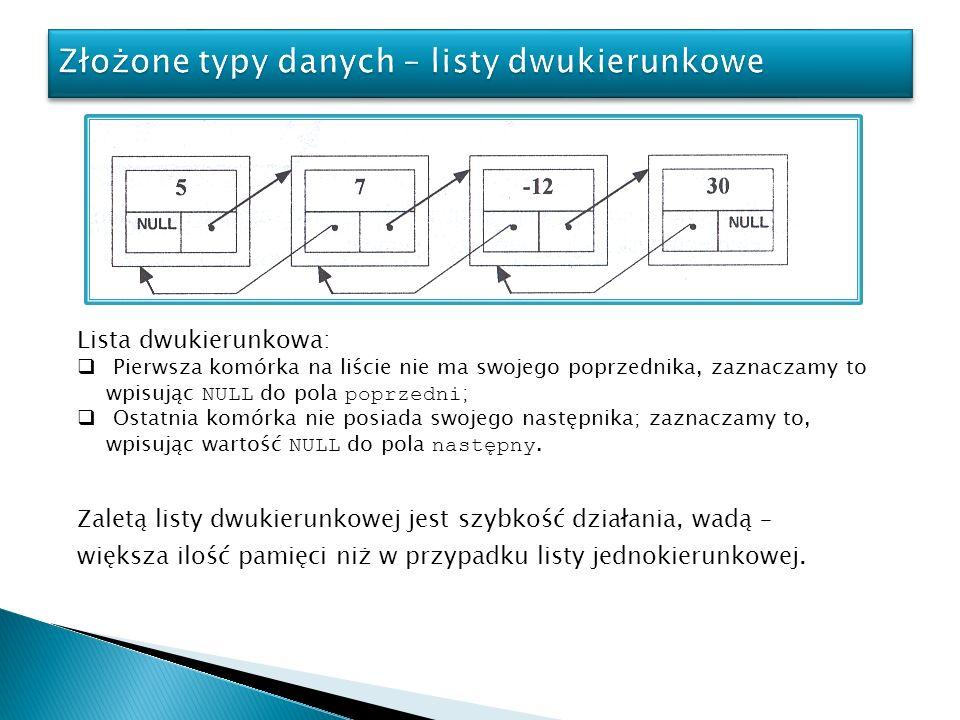 Złożone typy danych – listy dwukierunkowe