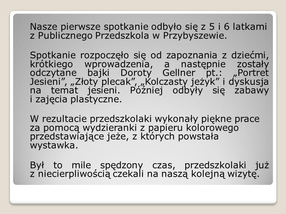 Nasze pierwsze spotkanie odbyło się z 5 i 6 latkami z Publicznego Przedszkola w Przybyszewie.