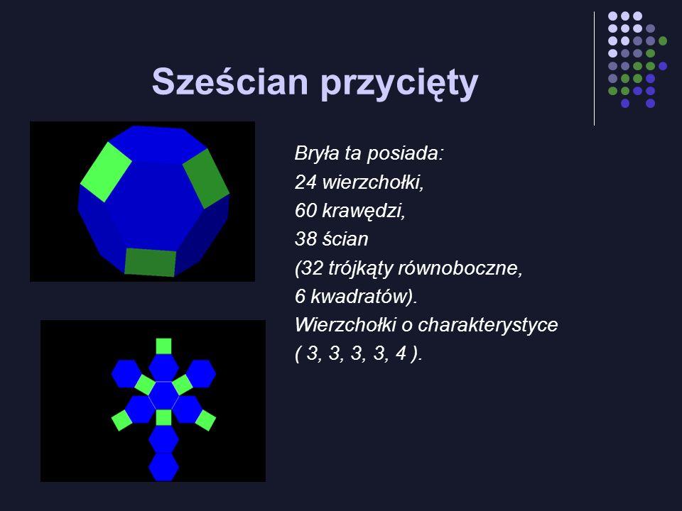 Sześcian przycięty Bryła ta posiada: 24 wierzchołki, 60 krawędzi,
