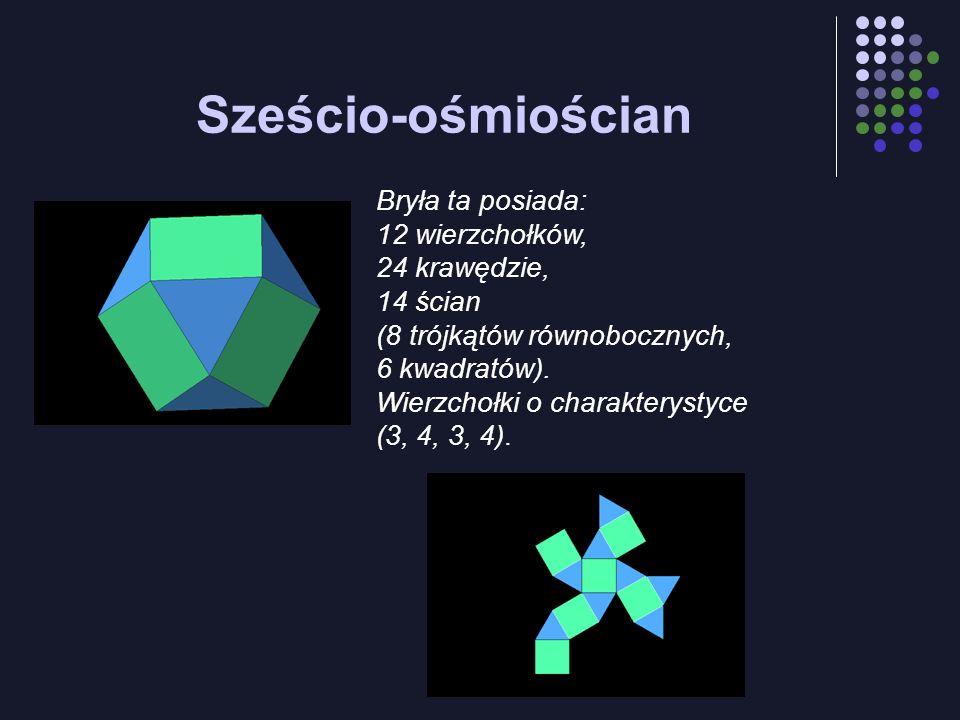Sześcio-ośmiościan Bryła ta posiada: 12 wierzchołków, 24 krawędzie,