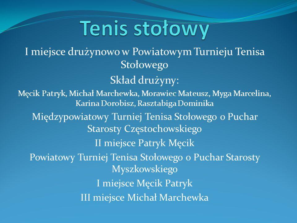 Tenis stołowy I miejsce drużynowo w Powiatowym Turnieju Tenisa Stołowego. Skład drużyny: