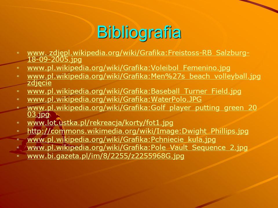 Bibliografia www. zdjępl.wikipedia.org/wiki/Grafika:Freistoss-RB_Salzburg-18-09-2005.jpg. www.pl.wikipedia.org/wiki/Grafika:Voleibol_Femenino.jpg.