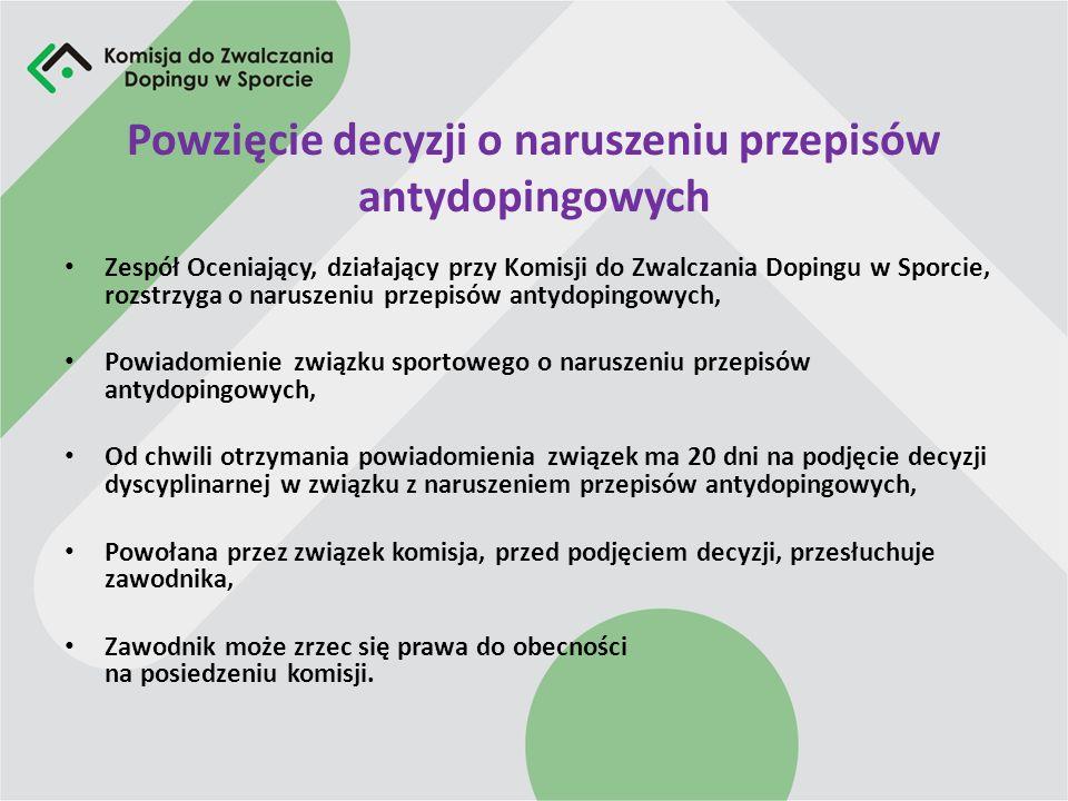 Powzięcie decyzji o naruszeniu przepisów antydopingowych