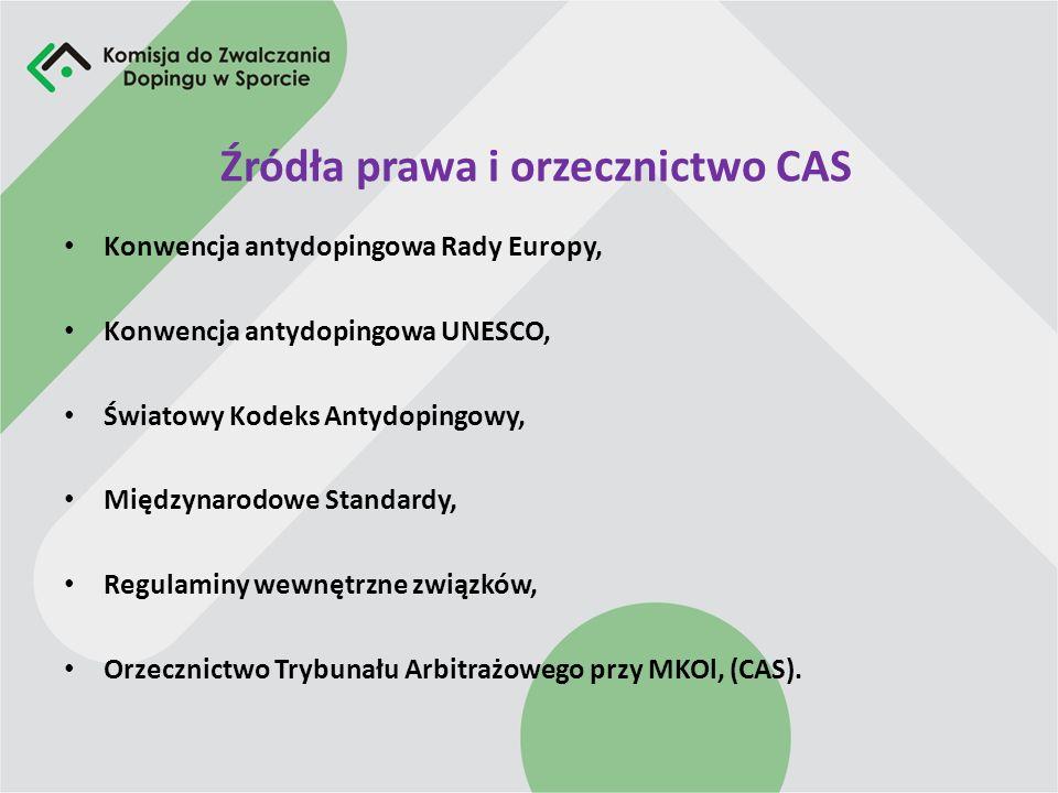 Źródła prawa i orzecznictwo CAS