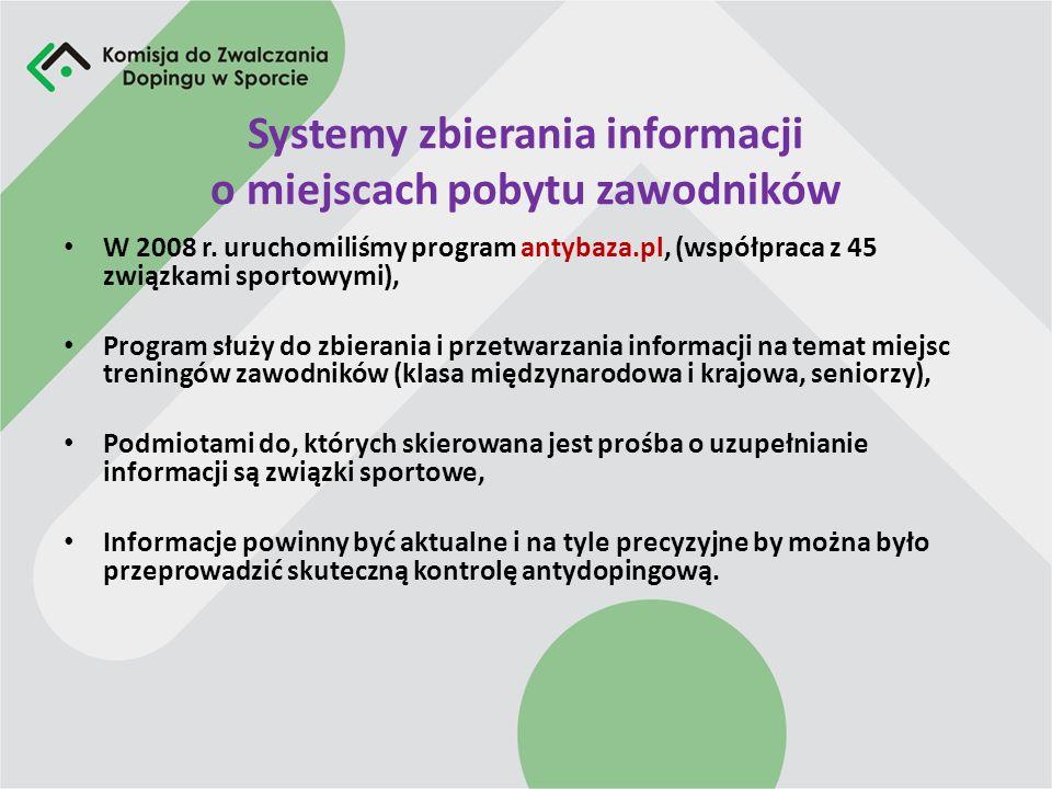 Systemy zbierania informacji o miejscach pobytu zawodników