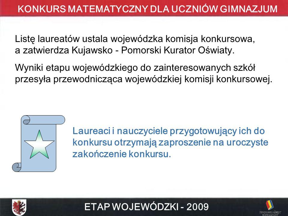 Listę laureatów ustala wojewódzka komisja konkursowa, a zatwierdza Kujawsko - Pomorski Kurator Oświaty.