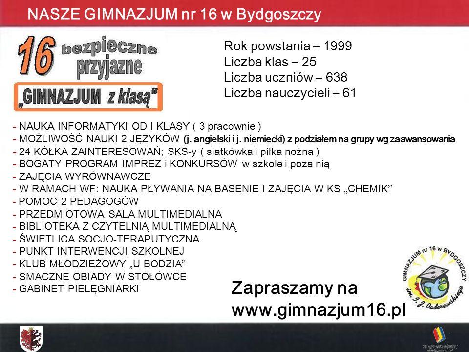 Zapraszamy na www.gimnazjum16.pl