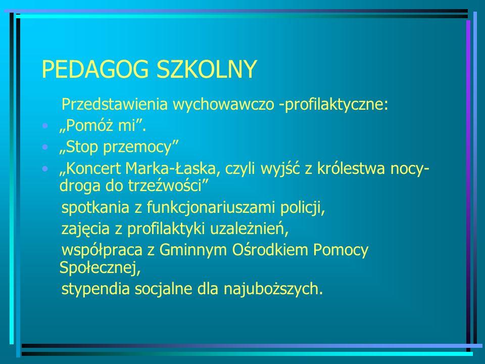 PEDAGOG SZKOLNY Przedstawienia wychowawczo -profilaktyczne: