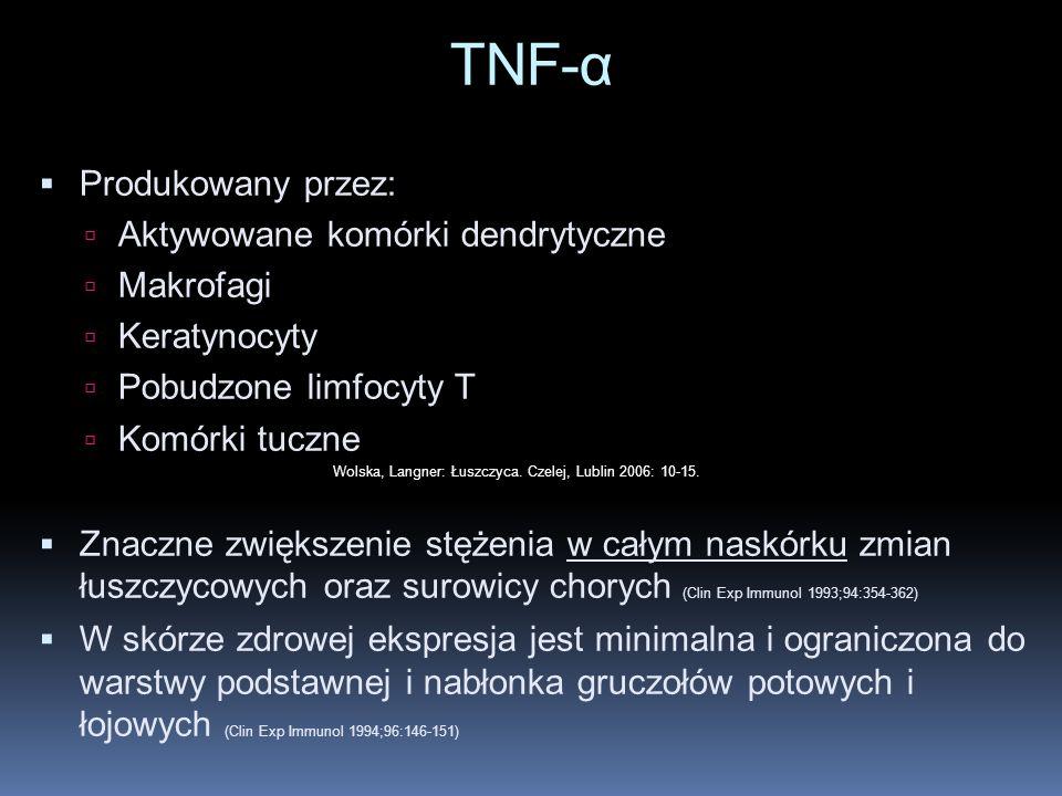 TNF-α Produkowany przez: Aktywowane komórki dendrytyczne Makrofagi