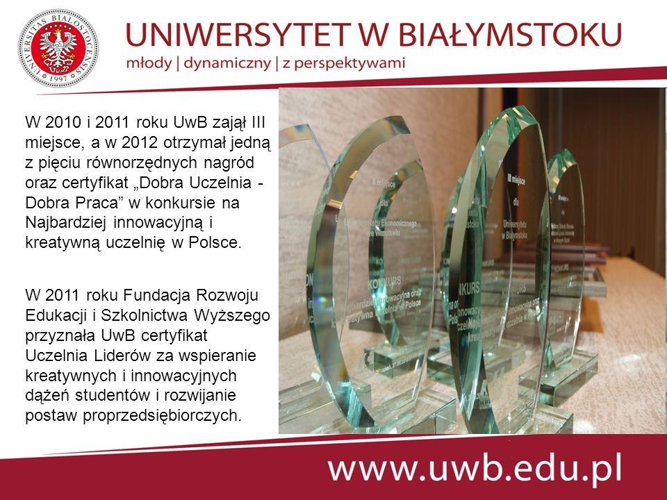 """W 2010 i 2011 roku UwB zajął III miejsce, a w 2012 otrzymał jedną z pięciu równorzędnych nagród oraz certyfikat """"Dobra Uczelnia - Dobra Praca w konkursie na Najbardziej innowacyjną i kreatywną uczelnię w Polsce."""