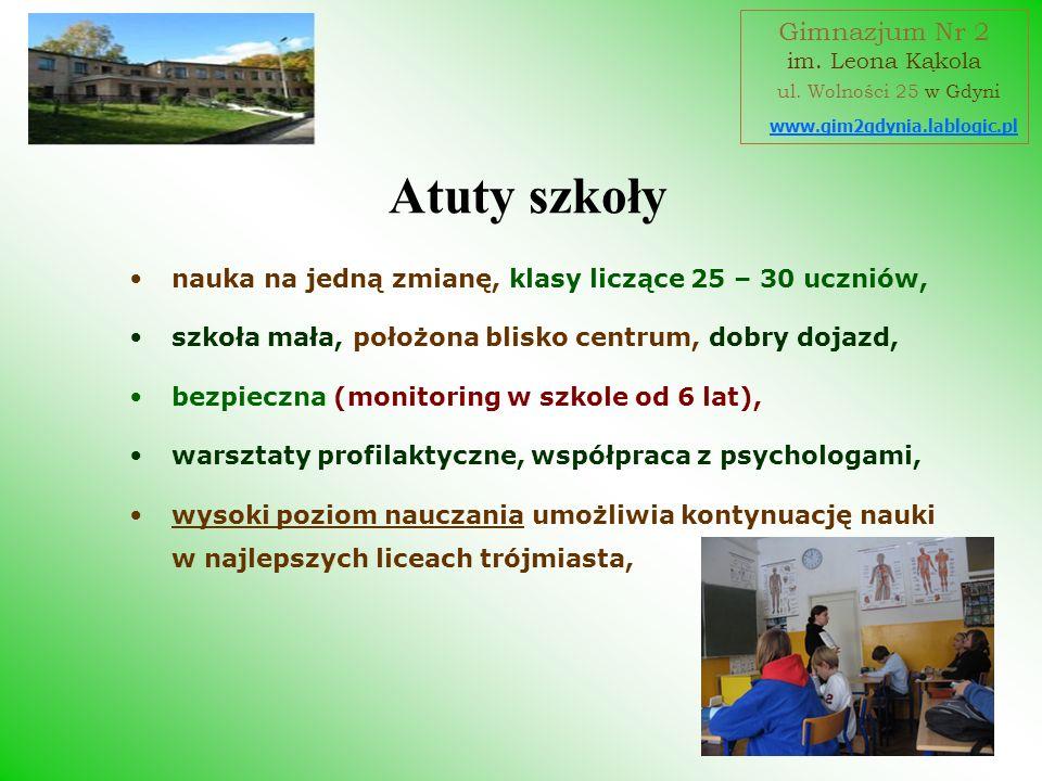 Atuty szkoły Gimnazjum Nr 2 ul. Wolności 25 w Gdyni