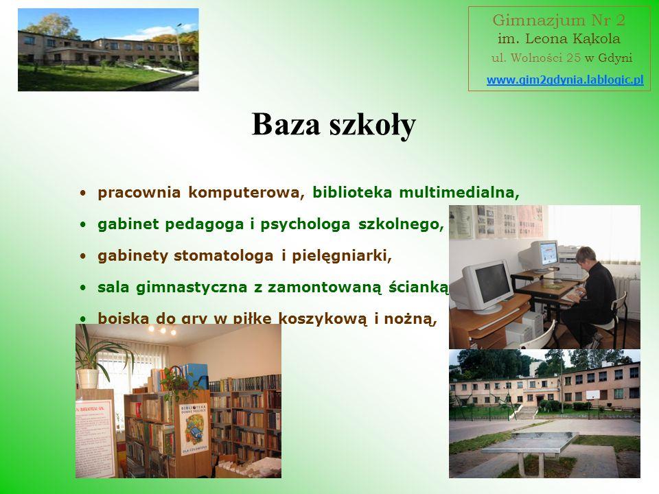 Baza szkoły Gimnazjum Nr 2 ul. Wolności 25 w Gdyni im. Leona Kąkola
