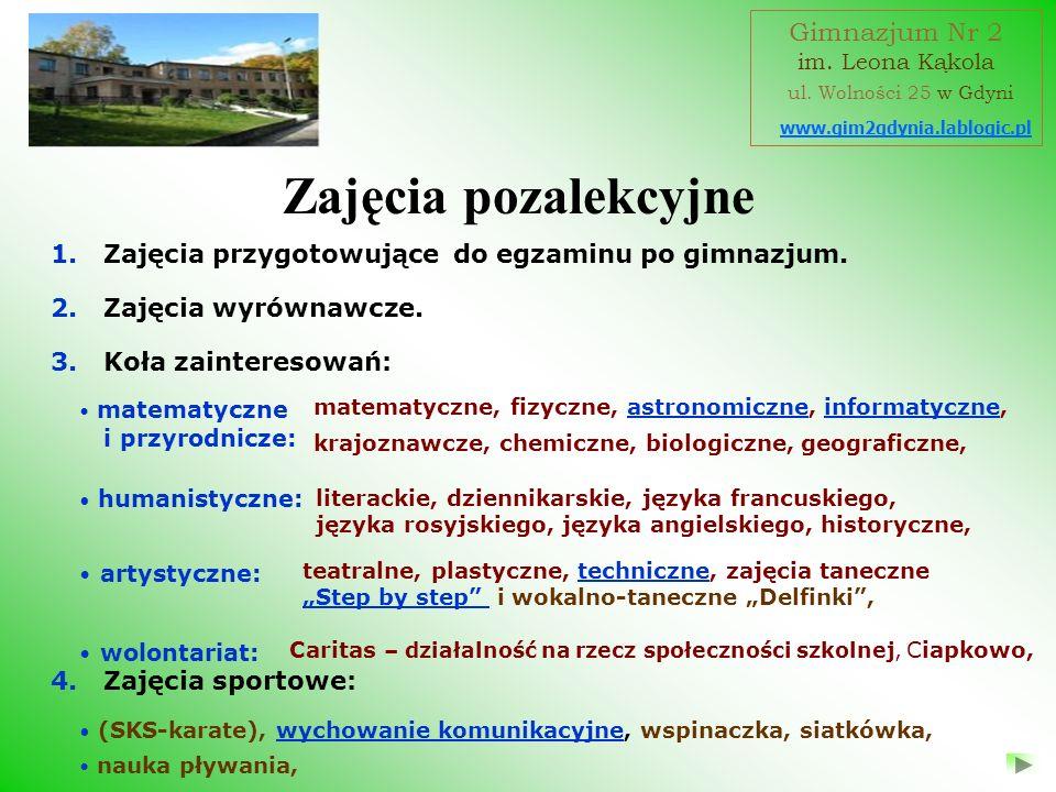 Zajęcia pozalekcyjne Gimnazjum Nr 2 ul. Wolności 25 w Gdyni
