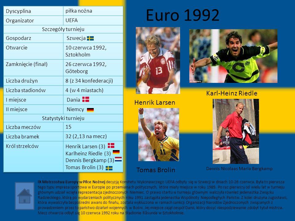 Euro 1992 Karl-Heinz Riedle Henrik Larsen Tomas Brolin piłka nożna