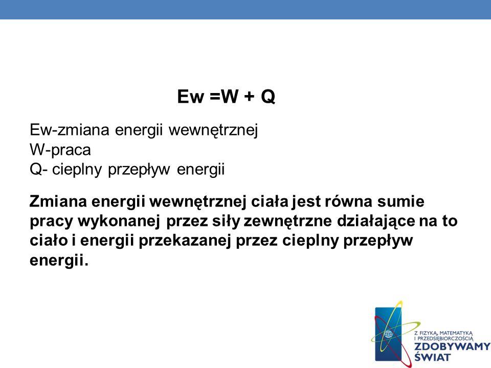 Ew =W + Q Ew-zmiana energii wewnętrznej W-praca Q- cieplny przepływ energii.