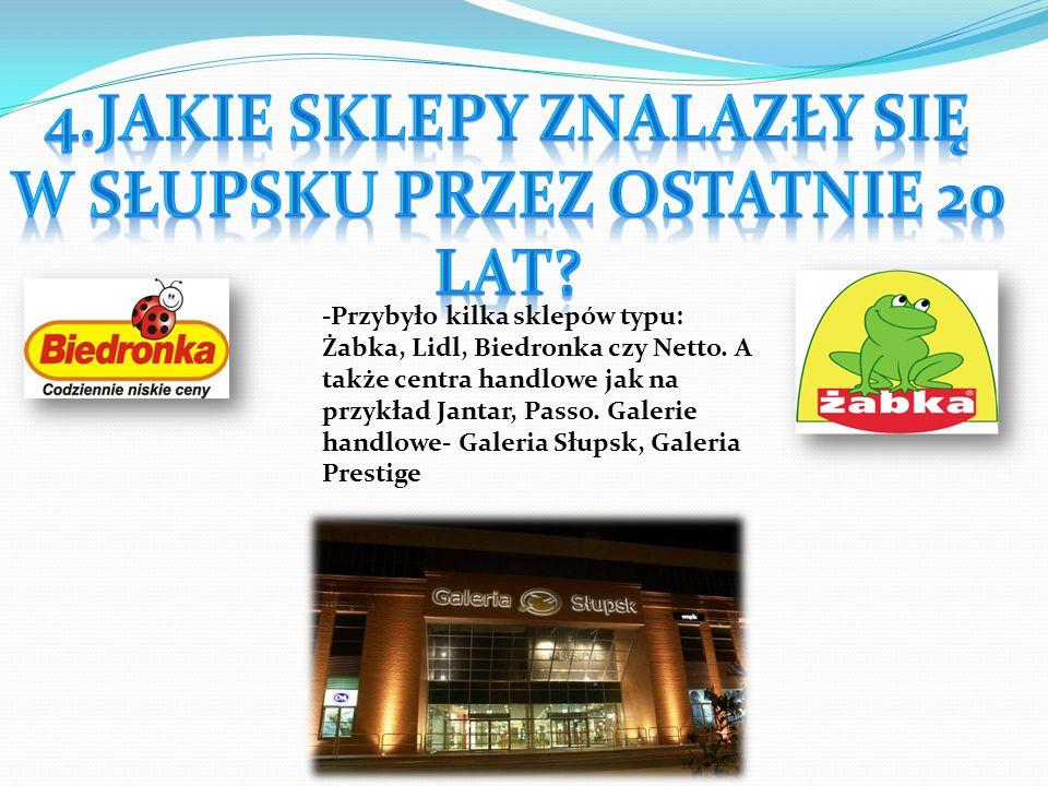 4.Jakie sklepy znalazły się w Słupsku przez ostatnie 20 lat